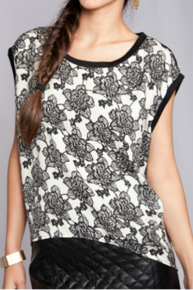 Black & White Floral Top