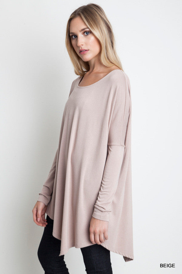 Taupe Asymmetrical Knit Top