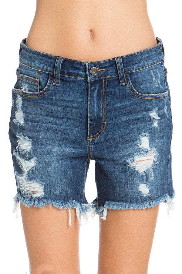 Dark Denim Distressed Shorts
