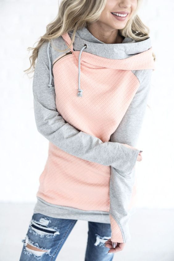 Peach double hooded sweatshirt