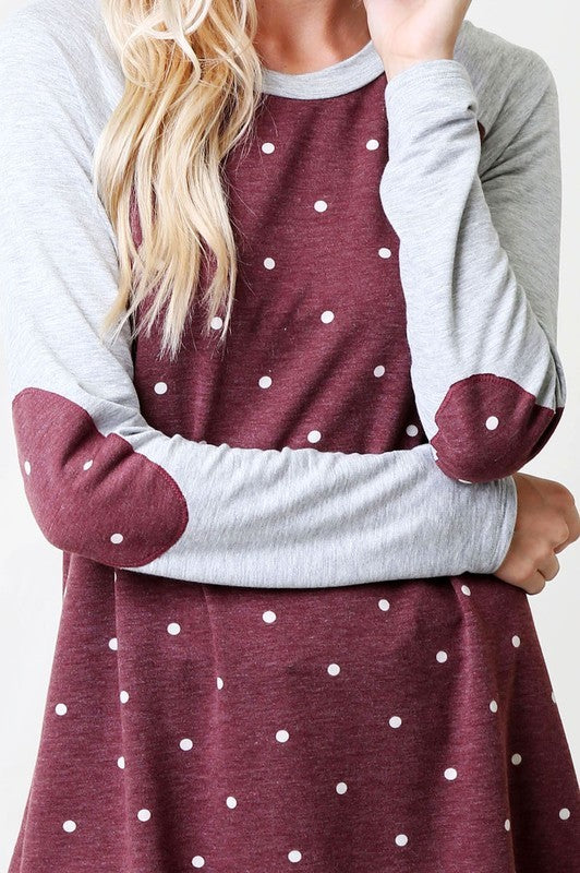 Burgandy Polka Dot with Elbow Patches