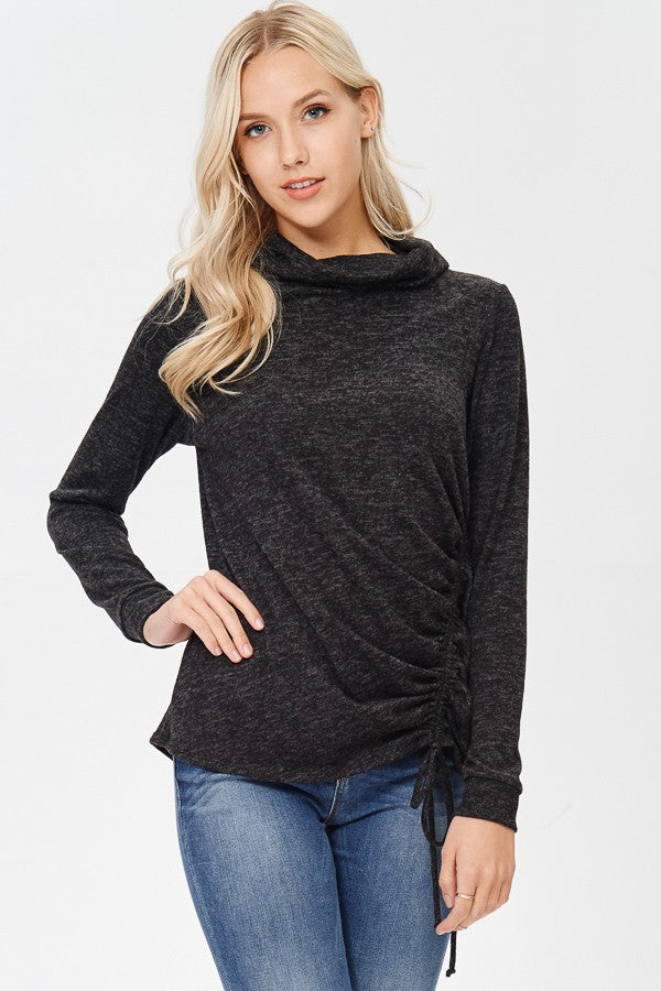 Charcoal Chill Cowl Neck Top