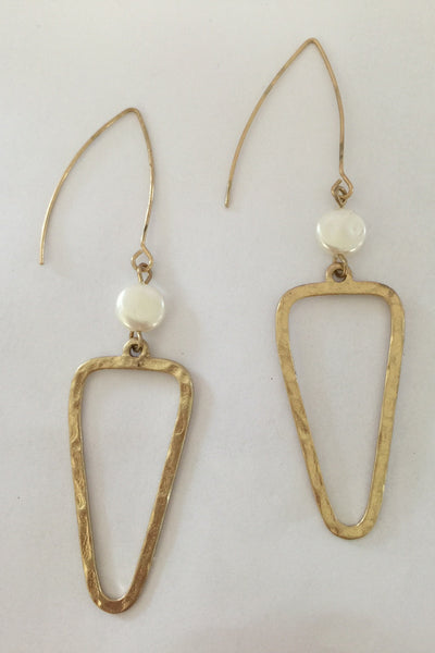 Gold Pearl Drop Triangle Earrings