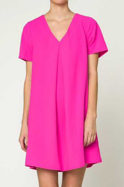 Hot Pink V-Neck Dress