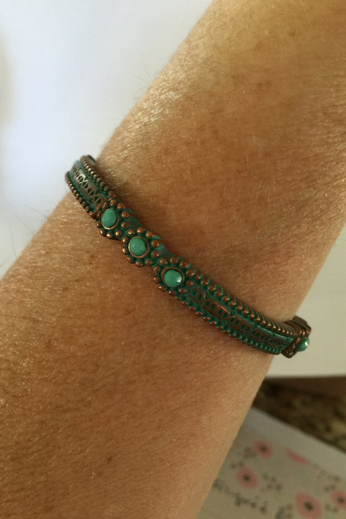 Patina 3 Bead Stretch Bracelet