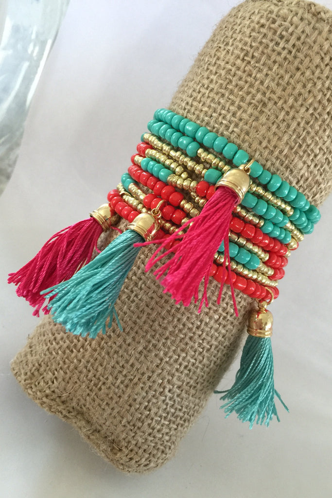 Tassel Stretch Bracelet Set Twotone