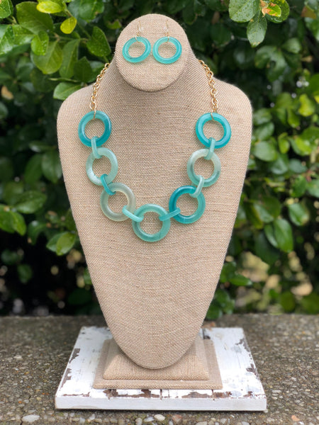 Turquoise Circle Necklace and Earring Set