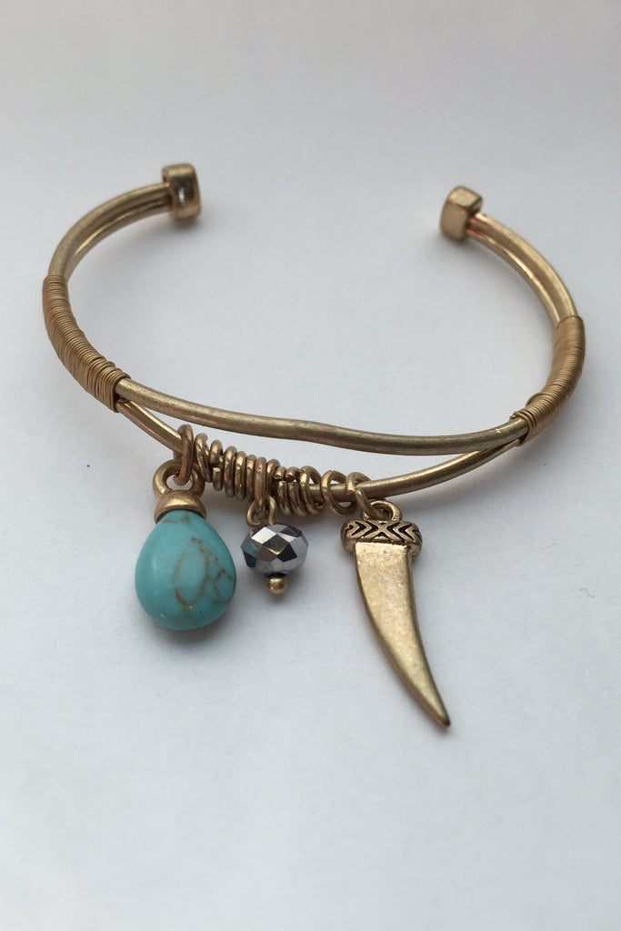 Gold Tusk Cuff Bracelet with Turquoise & Bead
