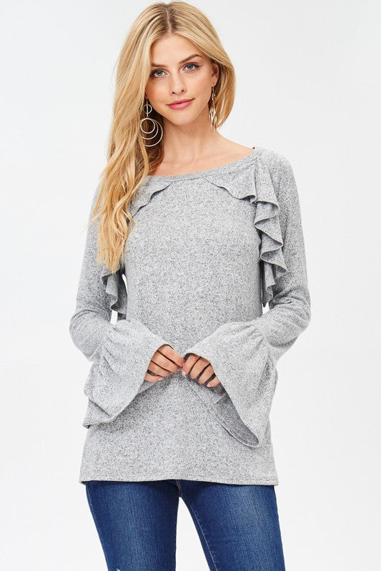 Gray Ruffle Bell Sleeved Top