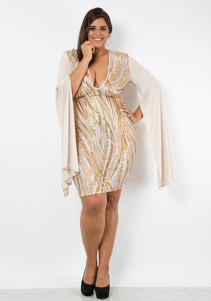 white and gold plus size dress | good dresses