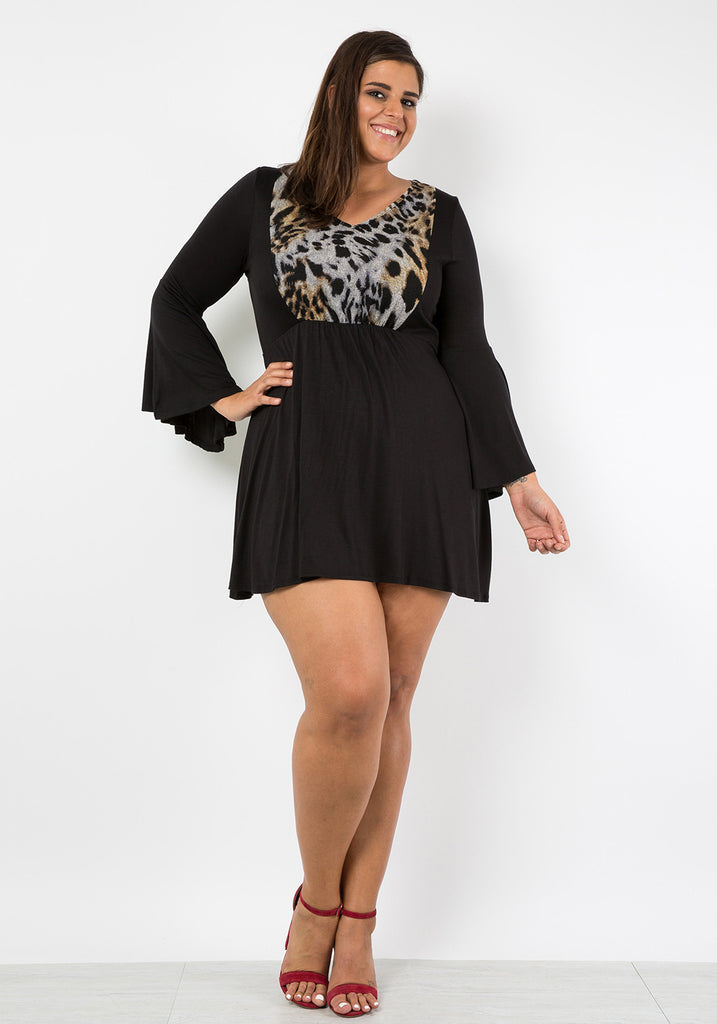 Plus Size Animal Print Bell Sleeve Dress – SHOPQUEEN