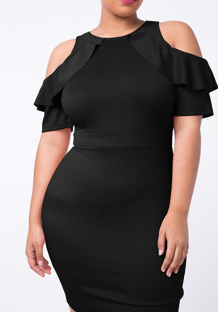 PLUS SIZE FRILL PARTY DRESS IN COLD SHOULDER CUTOUT – SHOPQUEEN