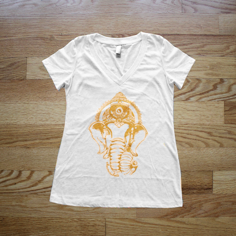 Gold Ganesha V Neck T- Shirt