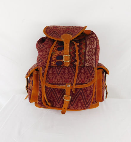 Vintage Leather backpack with native hand brocade