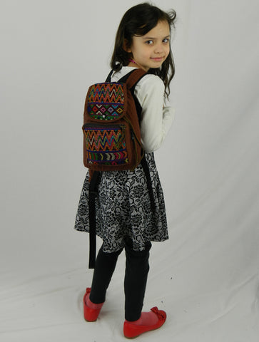 Mini Backpack in textured basket weave cotton with hand brocade.