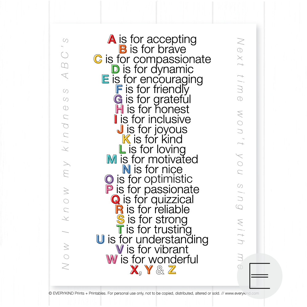 KINDNESS ABC's PRINT