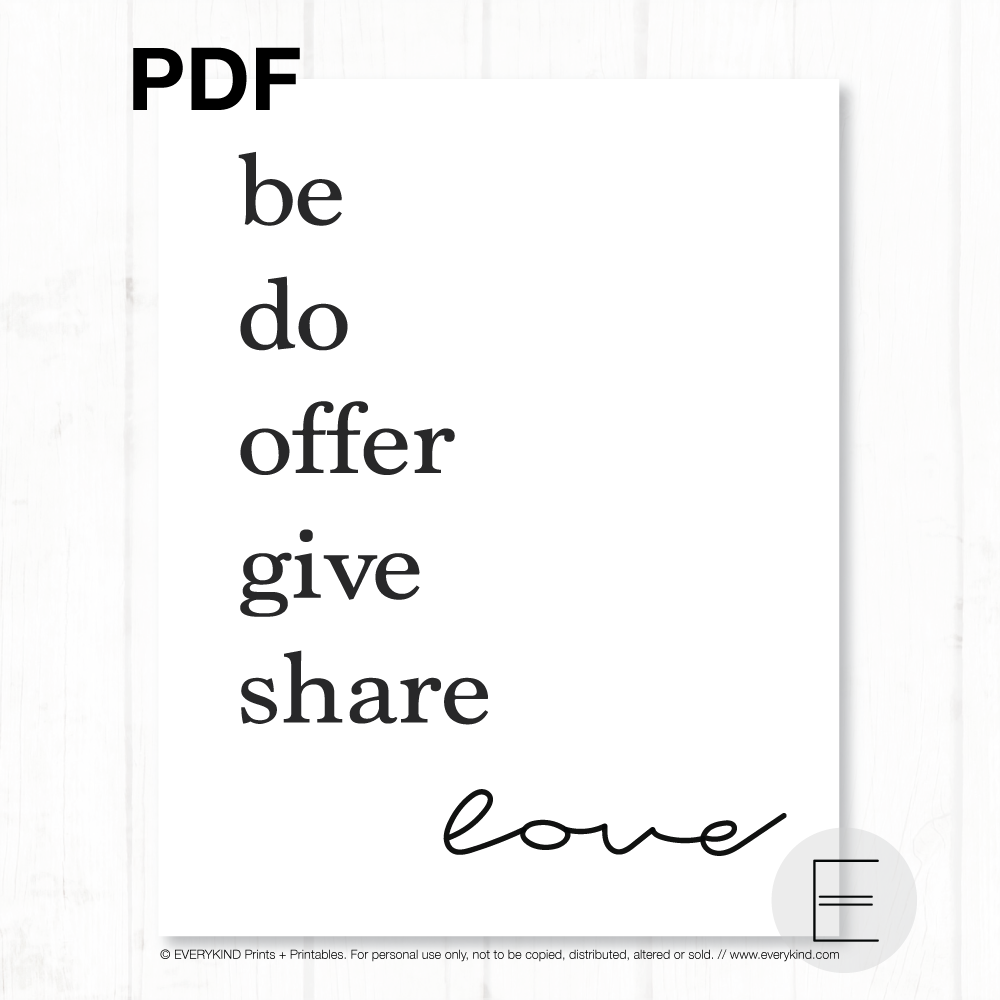 Be do offer give share love PDF by EVERYKIND