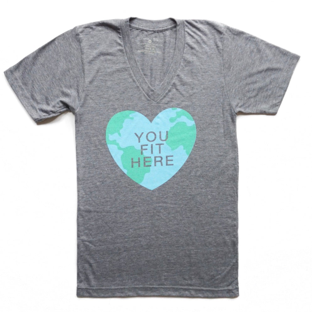 You Fit Here Adult Graphic V-Neck T-Shirt by EVERYKIND