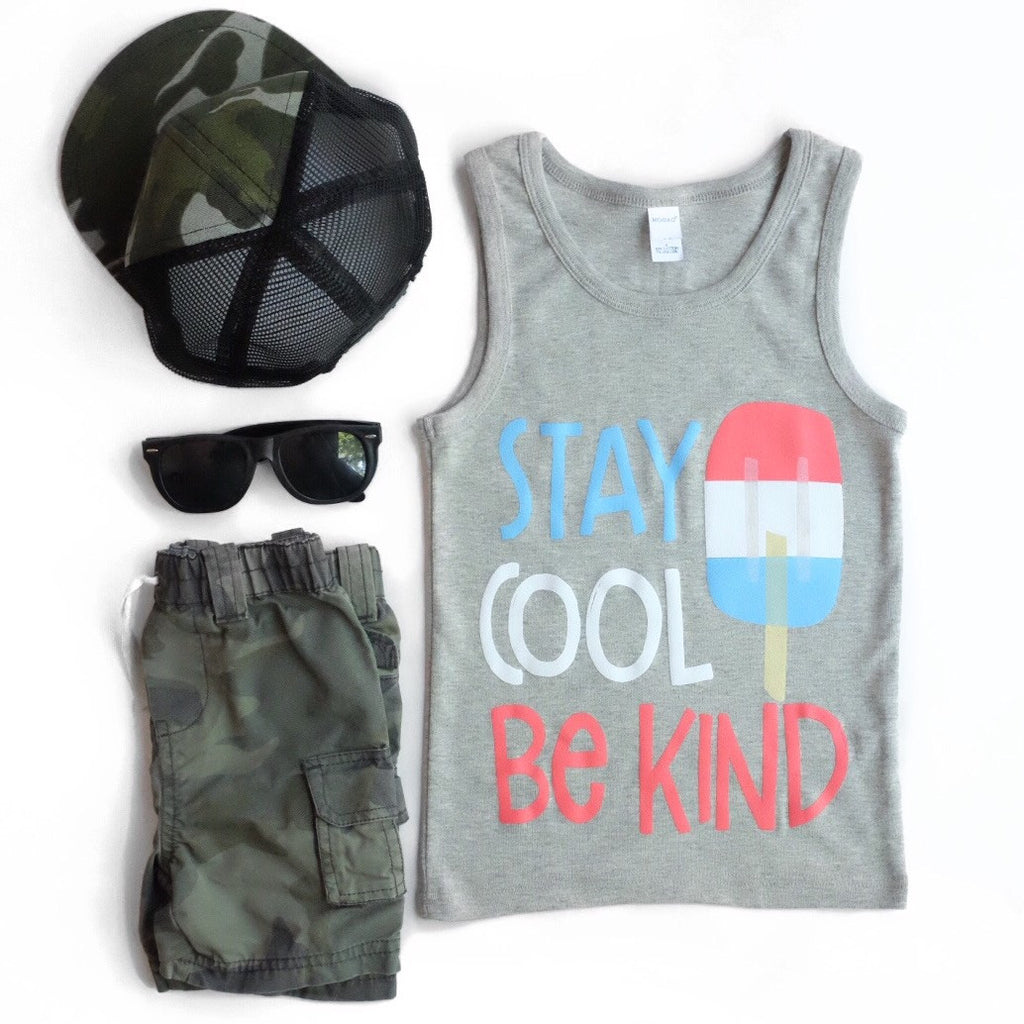 STAY COOL BE KIND KIDS TANK TOP