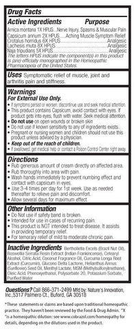 CobraZol™ Sport - Extreme Pain Relief Cream - 4 oz. Bottle
