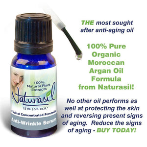 Anti-Wrinkle Serum with Organic Moroccan Argan Oil - 15 ml Bottle - Naturasil