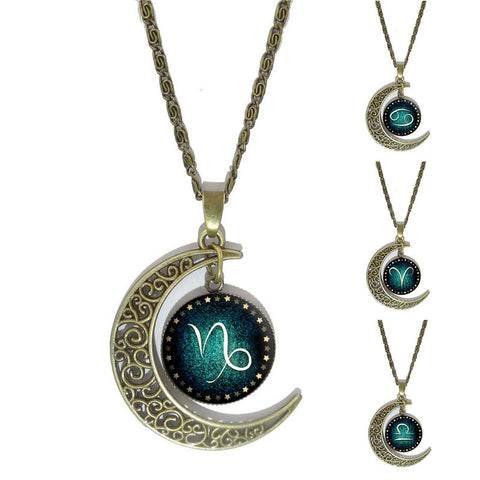 12 Constellation Moon Necklaces