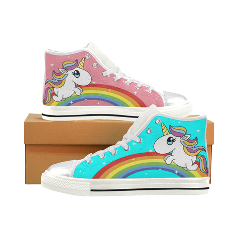 Unicorns and Rainbows - Kid's High Top Shoes - Limited Edition