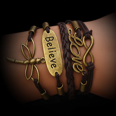 Dragonfly Love Bronze Bracelet