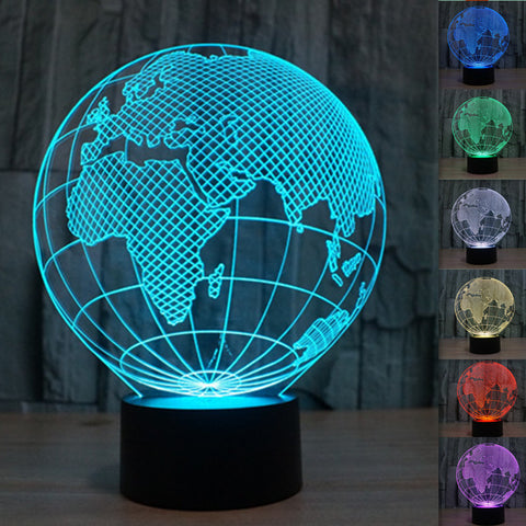 European Globe 3D Illusion LED Lamp