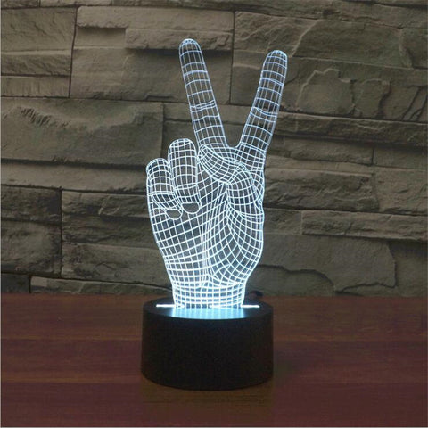 Peace Hand 3D Illusion LED Lamp