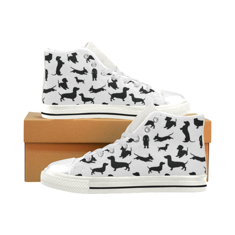 Dachshund Silhouette Shoes - Mens White