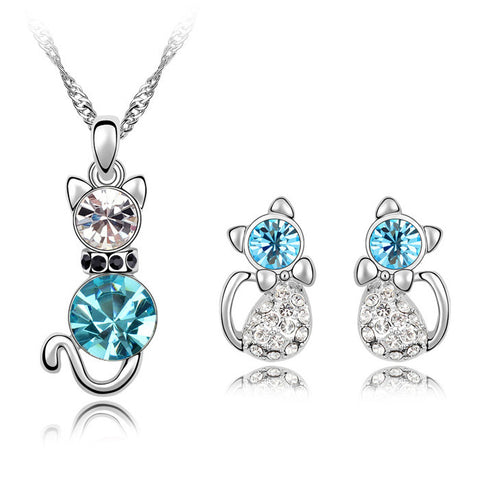 Crystal Cat Necklace and Earrings Set