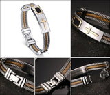 Trendy Stainless Steel & Gold Cross Bracelet