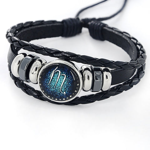 Black Leather Zodiac Sign Bracelet - Free