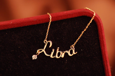 Rose Gold Zodiac Name Necklace with Austria Crystal
