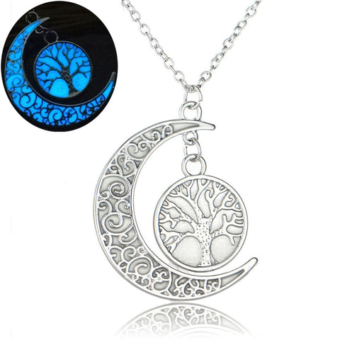 Glow In The Dark Tree of Life Necklace - Silver