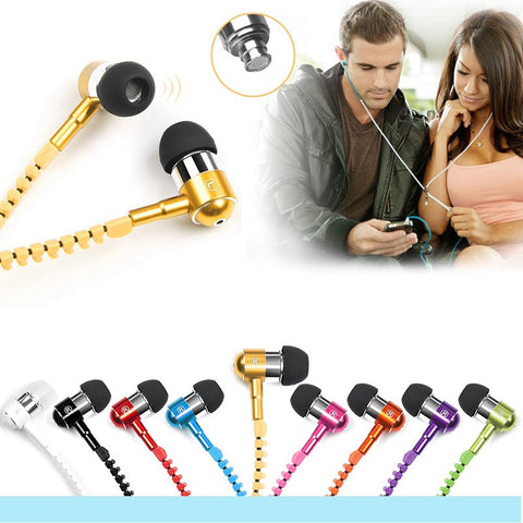 Metal Zipper Earphones With Microphone