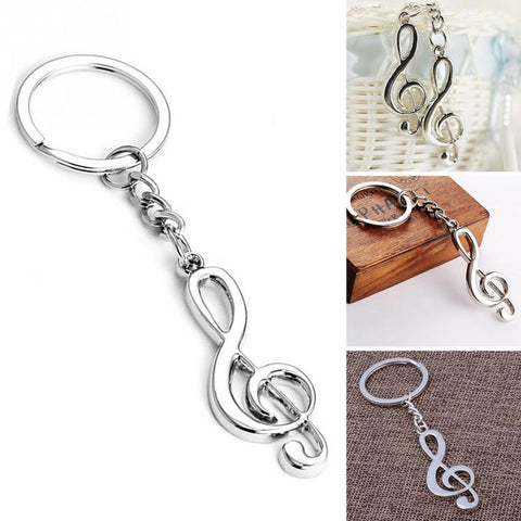 Musical Note Silver Keychain