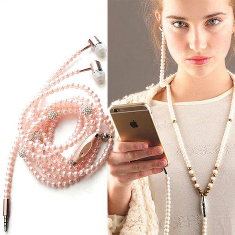 Pearl Earphone Necklace with Rhinestone - HOT
