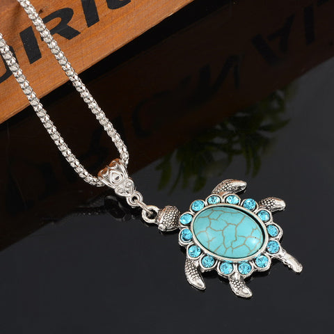 Turquoise Turtle Necklace With Rhinestone - Just Pay Shipping