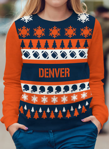 Denver Football Ugly Christmas Sweatshirt