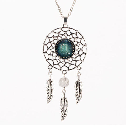 12 Constellation Silver Dream Catcher Necklace