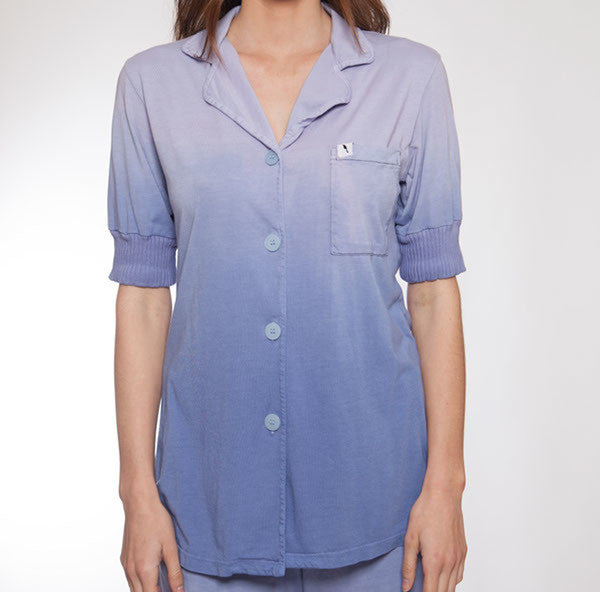 Short Sleeve Hand Dyed Ombre Blue Pajama Top - M