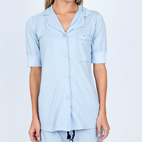 Short Sleeve Pajama Top - Sky
