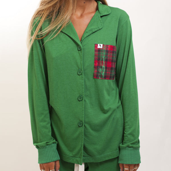 Long Sleeve Pajama Top - Evergreen