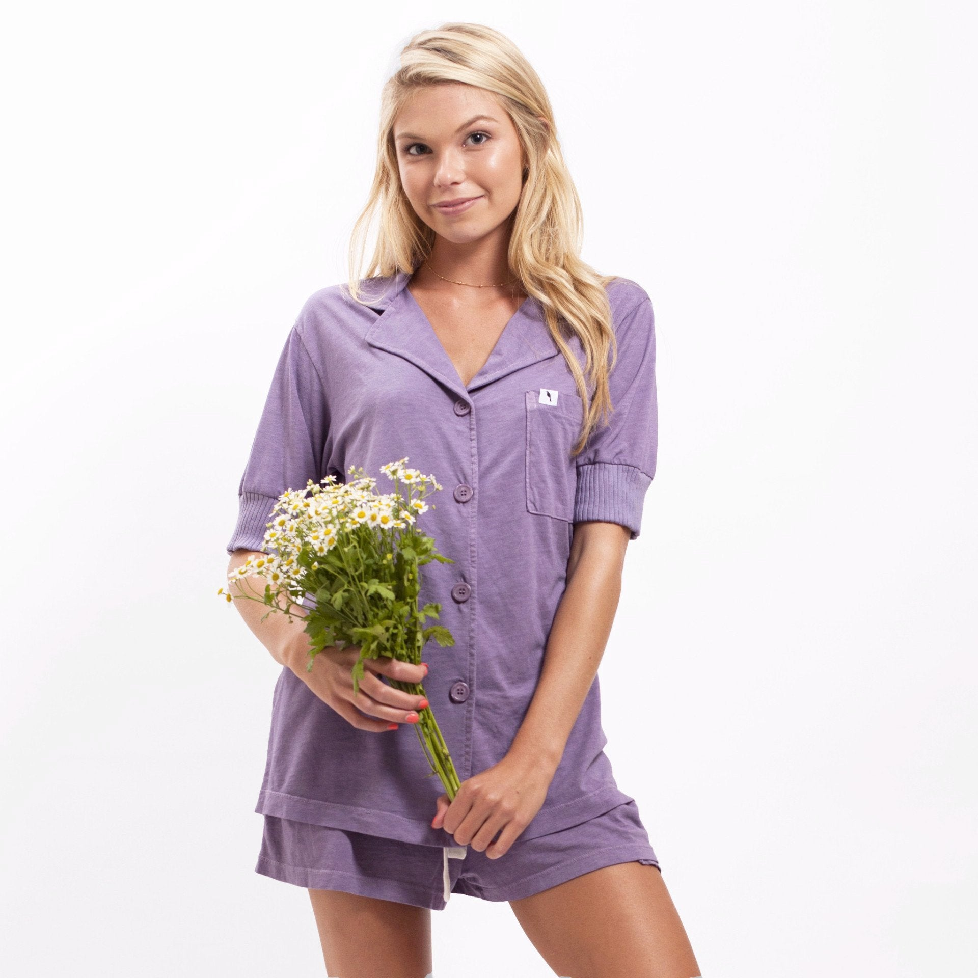 Short Sleeve Pajama Top - Lilac
