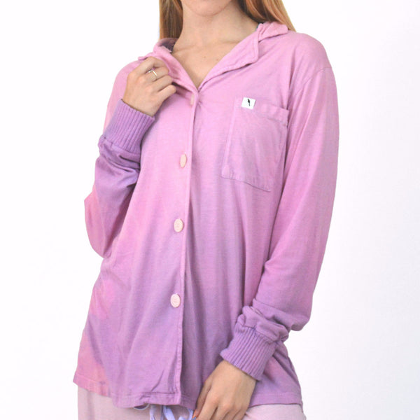 Hand Dyed Pink Heart Long Sleeve Pajama Top - M