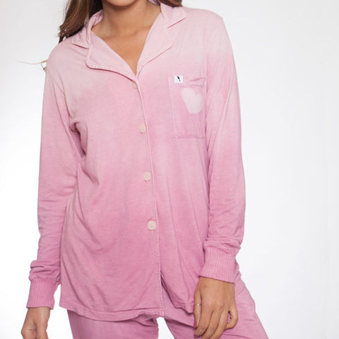 Long Sleeve Hand Dyed Pink Ombre Pajama Top - M