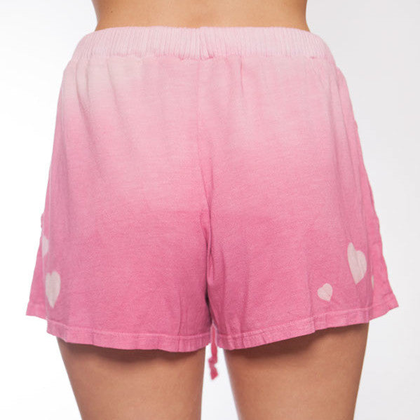 Hand Dyed Dark Pink Ombre Heart Pajama Short - L