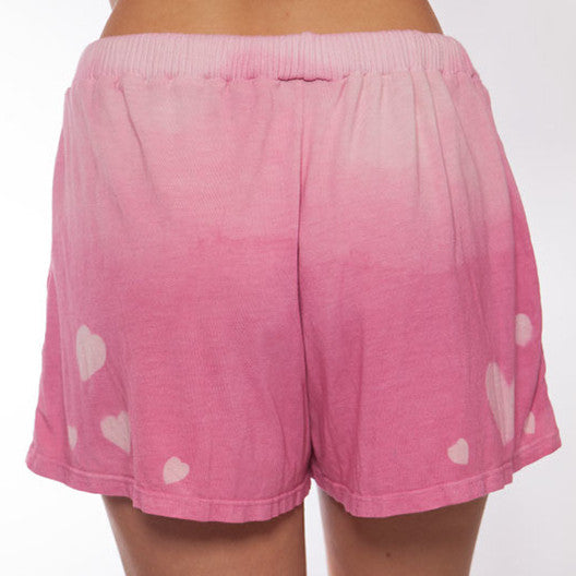 Hand Dyed Pink Ombre Heart Pajama Short - XL